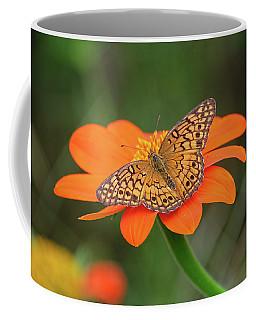 Variegated Fritillary On Flower Coffee Mug