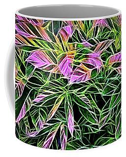 Variegated Leaves Pink And Green Coffee Mug by Linda Phelps