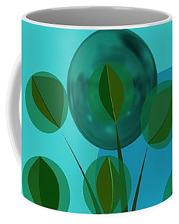 Vase With Bouquet Over Blue Coffee Mug