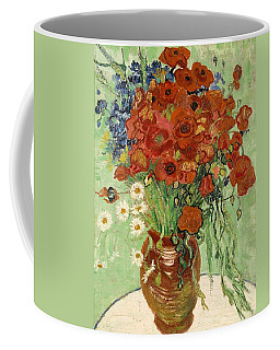 Coffee Mug featuring the painting Vase With Daisies And Poppies by Van Gogh