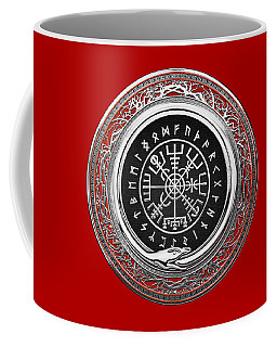 Vegvisir - A Silver Magic Viking Runic Compass On Red Leather  Coffee Mug