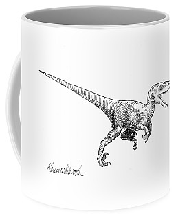 Coffee Mug featuring the drawing Velociraptor - Dinosaur Black And White Ink Drawing by Karen Whitworth