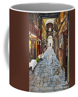 Coffee Mug featuring the painting Venezia - Alley On Parangon In Venice by Jan Dappen