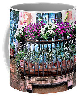 Coffee Mug featuring the photograph Venice Flower Balcony by Allen Beatty