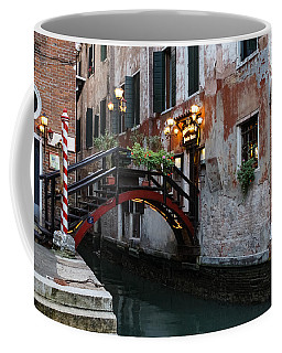 Venice Italy - The Cheerful Christmassy Restaurant Entrance Bridge Coffee Mug by Georgia Mizuleva