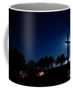 Ventura Ca Cross At Moonset Coffee Mug
