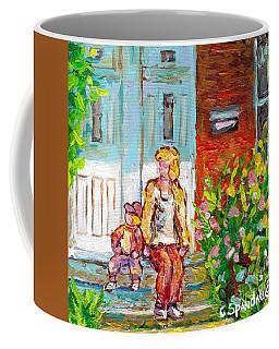 Verdun Doors Duplex Porch Scene Canadian Painting Mom And Tot On Steps Carole Spandau Montreal Art Coffee Mug