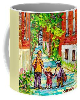Verdun Laneway Painting Short Cut Mom And Kids Afternoon Stroll Canadian Scenes Quebec Art C Spandau Coffee Mug