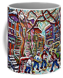 Verdun Montreal Quebec Hockey Winter  Painting Row Houses Winding Staircases Canadian Art C Spandau Coffee Mug