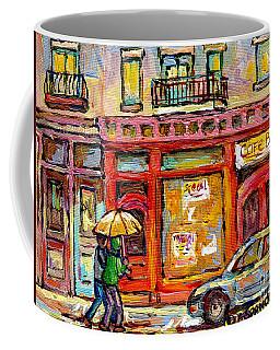 Verdun Montreal Rainy Day Wellington Street Umbrella Paintings Canadian Cityscenes C Spandau Art Coffee Mug
