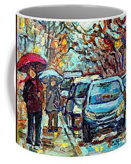 Verdun Rainy Street Scene Painting Umbrella Stroll Southwest Montreal Canadian Artist C Spandau Art  Coffee Mug
