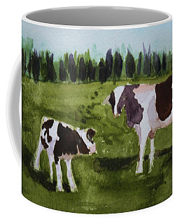 Coffee Mug featuring the painting Vermont Cow And Calf by Donna Walsh
