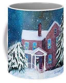 Coffee Mug featuring the painting Vermont Studio Center In Winter by Donna Walsh