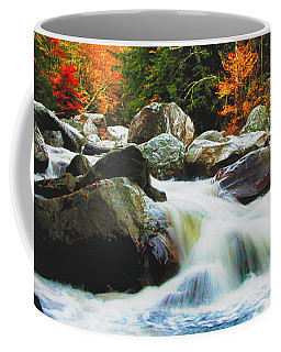 Coffee Mug featuring the photograph Vermonts Fall Color Rapids by Jeff Folger