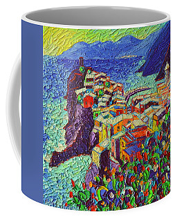 Vernazza Cinque Terre Italy 2 Modern Impressionist Palette Knife Oil Painting By Ana Maria Edulescu  Coffee Mug