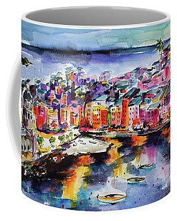 Vernazza Twilight Cinque Terre Watercolors Coffee Mug