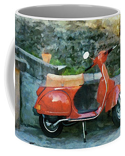 Vespa Parked Coffee Mug by Jeff Kolker