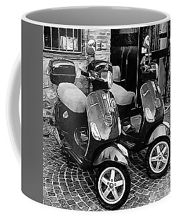 Vespa Twins Black And White Coffee Mug