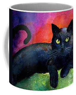 Vibrant Black Cat Watercolor Painting  Coffee Mug by Svetlana Novikova