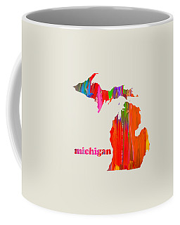 Vibrant Colorful Michigan State Map Painting Coffee Mug
