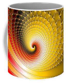Coffee Mug featuring the digital art Vibrant Glossy Fractal Spiral Yellow And Red by Matthias Hauser