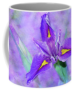 Coffee Mug featuring the photograph Vibrant Iris On Purple Bokeh By Kaye Menner by Kaye Menner