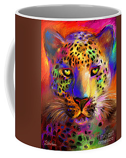 Vibrant Leopard Painting Coffee Mug