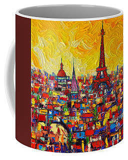 Vibrant Paris Abstract Cityscape Impasto Modern Impressionist Palette Knife Oil Ana Maria Edulescu Coffee Mug