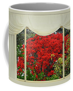 Coffee Mug featuring the photograph Vibrant Red Blossoms Window View By Kaye Menner by Kaye Menner