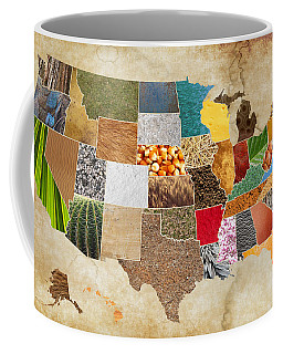 Vibrant Textures Of The United States On Worn Parchment Coffee Mug