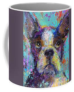 Vibrant Whimsical Boston Terrier Puppy Dog Painting Coffee Mug