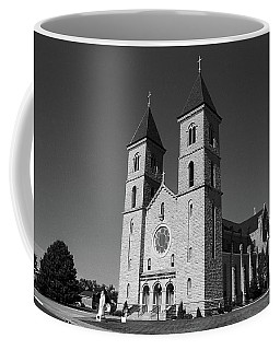 Coffee Mug featuring the photograph Victoria, Kansas - Cathedral Of The Plains 6 Bw by Frank Romeo