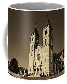 Coffee Mug featuring the photograph Victoria, Kansas - Cathedral Of The Plains Sepia 6 by Frank Romeo