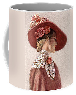 Coffee Mug featuring the painting Victorian Lady In A Rose Hat by Sue Halstenberg