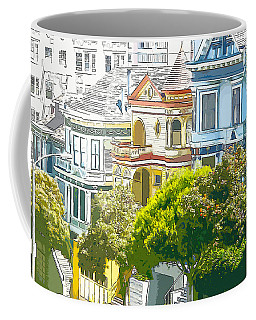 Victorian Painted Ladies Houses In San Francisco California Coffee Mug