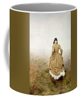 Victorian Woman Running On The Misty Moors Coffee Mug