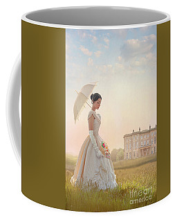 Victorian Woman With Parasol And Fan Coffee Mug by Lee Avison