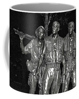 Coffee Mug featuring the photograph Vietnam Memorial At Night 006 Bw by George Bostian