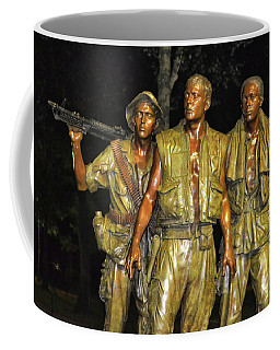 Coffee Mug featuring the photograph Vietnam Memorial At Night 006 by George Bostian
