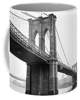 View Brooklyn Bridge With Foggy City In The Background Coffee Mug