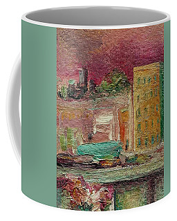 Coffee Mug featuring the painting View From A Balcony by Mary Wolf