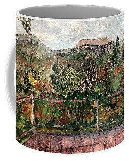 Coffee Mug featuring the mixed media View From The Deck by Norma Duch