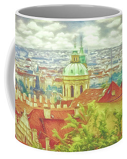 Coffee Mug featuring the photograph View From The High Ground - Prague  by Leigh Kemp