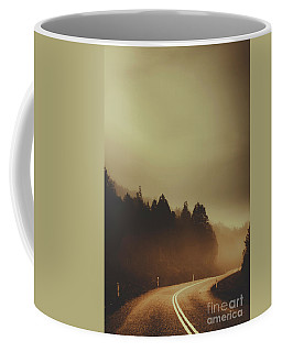 View Of Abandoned Country Road In Foggy Forest Coffee Mug
