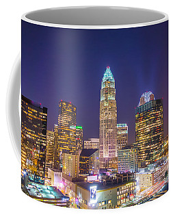 View Of Charlotte Skyline Aerial At Sunset Coffee Mug