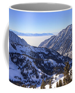 View Of Little Cottonwood Canyon From Hidden Peak Coffee Mug by Spencer Baugh