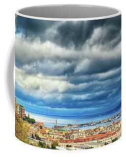 View Of Messina Strait Sicily With Dramatic Sky Coffee Mug by Silvia Ganora