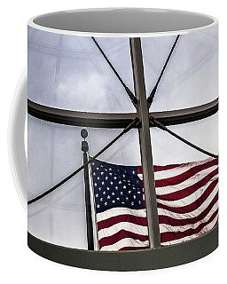 View Of The American Flag Through The Glass Dome Of The Overture Center Coffee Mug