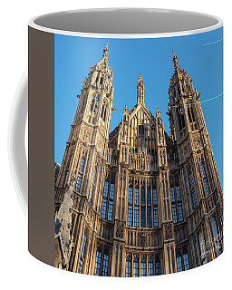 Coffee Mug featuring the photograph View Of The Top Detail Of The Parlament House In London by PorqueNo Studios