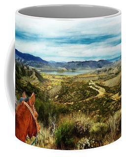 View Of Vail Lake On Horseback Coffee Mug